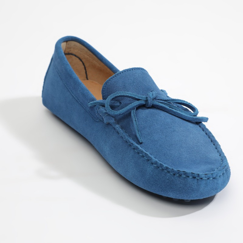 Mocassin Johnny Lacets Bleu