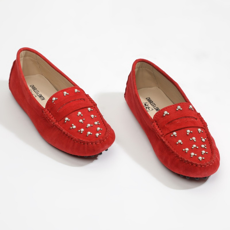Mocassins Fantaisie Rouge